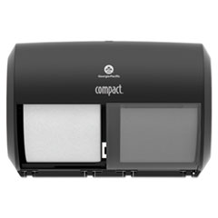 Georgia Pacific® Professional Compact Coreless Side-by-Side 2-Roll Tissue Dispenser, 11.5 x 7.625 x 8, Black