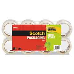 """Sure Start Packaging Tape, 3"""" Core, 1.88"""" x 54.6 yds, Clear, 8/Pack"""