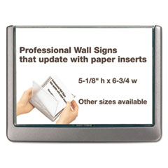 Durable® Click Sign Holder For Interior Walls, 6 3/4 x 5/8 x 5 1/8, Gray