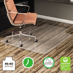 deflecto® EconoMat All Day Use Chair Mat for Hard Floors, Lip, 46 x 60, Low Pile, Clear