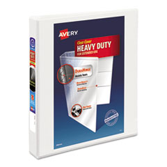 "Heavy-Duty View Binder with DuraHinge and Locking One Touch EZD Rings, 3 Rings, 1"" Capacity, 11 x 8.5, White"