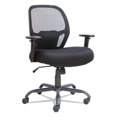 Alera Merix450 Series Mesh Big and Tall Chair, Supports up to 450 lbs, Black Seat/Black Back, Black Base