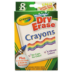 Crayola® Washable Dry Erase Crayons w/E-Z Erase Cloth, Assorted Colors, 8/Pack