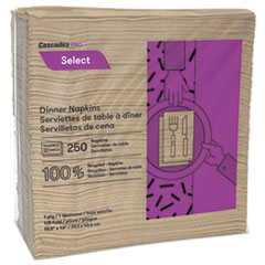 Cascades PRO Select Dinner Napkins, 1-Ply, 16 x 15 1/2, Natural, 250/Pack, 12 Packs/Carton