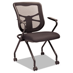 Alera Elusion Mesh Nesting Chairs, Black, 2/Carton