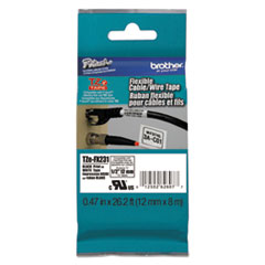 "Brother P-Touch® Flexible ID Tape, 0.47"" x 26.2 ft, Black on White"