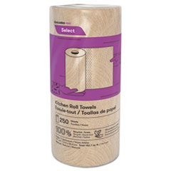 """Cascades PRO Select Kitchen Roll Towels, 2-Ply, 11"""" x 166.6 ft, Natural, 250/Roll, 12/Carton"""