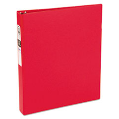 "Economy Non-View Binder with Round Rings, 3 Rings, 1"" Capacity, 11 x 8.5, Red"