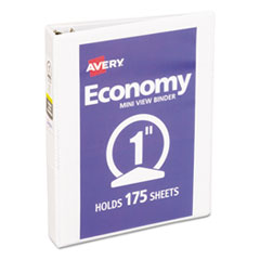 """Economy View Binder with Round Rings , 3 Rings, 1"""" Capacity, 8.5 x 5.5, White"""