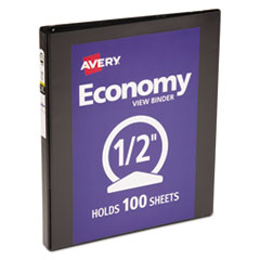 "Economy View Binder with Round Rings , 3 Rings, 0.5"" Capacity, 11 x 8.5, Black"