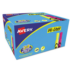 Avery® HI-LITER Desk-Style Highlighters, Chisel Tip, Assorted Colors, 24/Pack