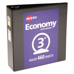 "Economy View Binder with Round Rings , 3 Rings, 3"" Capacity, 11 x 8.5, Black"