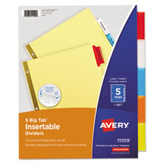 Avery® Insertable Big Tab Dividers, 5-Tab, Letter
