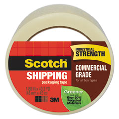 """Scotch® Greener Commercial Grade Packaging Tape, 1.88"""" x 49.2 yd, 3"""" Core, Clear"""