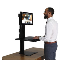 High Rise Standing Desk Workstation, 28 x 23 x 15 1/2, Black