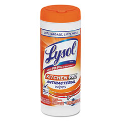 LYSOL® Brand Kitchen Pro Antibacterial Wipes, Citrus, 7x8, White, 30/Canister, 6 Cans/Carton