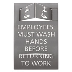 Advantus Pop-Out ADA Sign, Wash Hands, Tactile Symbol, Plastic, 6 x 9, Gray/White