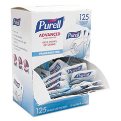 PURELL® Single Use Advanced Gel Hand Sanitizer, 1.2 mL, Packet, Clear, 125/Box