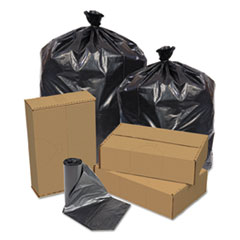 "Pitt Plastics Eco Strong Can Liners, 45 gal, 1.5 mil, 40"" x 46"", Black, 100/Carton"