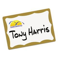 Avery® Printable Self-Adhesive Name Badges, 2 1/3 x 3 3/8, Gold Border, 100/Pack