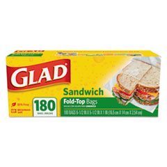 "Glad® Fold-Top Sandwich Bags, 6.5"" x 5.5"", Clear, 180/Box, 12 Boxes/Carton"