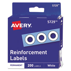 "Avery® Dispenser Pack Hole Reinforcements, 1/4"" Dia, White, 200/Pack"