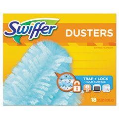 "Swiffer® Refill Dusters, Dust Lock Fiber, 2"" x 6"", Light Blue, 18/Box, 4 Boxes/Carton"
