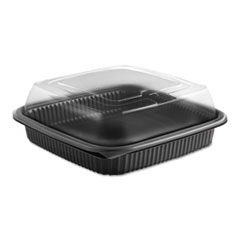 Anchor Packaging Culinary Squares 2-Piece Microwavable Container, 36 oz, Clear/Black, 8.46 x 8.46 x 2.91,150/Carton