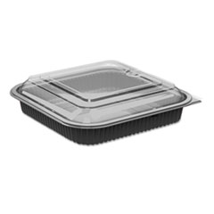 Anchor Packaging Culinary Squares 2-Piece Microwavable Container, 36 oz, Clear/Black, 8.46 x 8.46 x 2.25,150/Carton