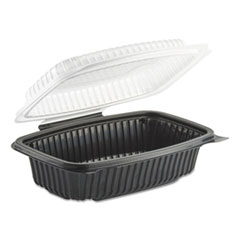 Anchor Packaging Culinary Classics Microwavable Container, 34 oz, Clear/Black, 100/Carton
