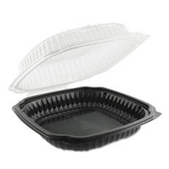 Anchor Packaging Culinary Classics Microwavable Container, 47.5 oz, Clear/Black, 100/Carton