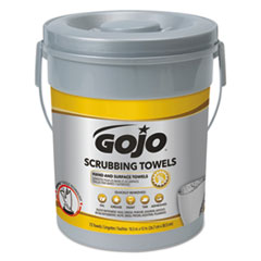GOJO® Scrubbing Towels, Hand Cleaning, Silver/Yellow, 10 1/2 x 12, 72/Bucket, 6/Carton