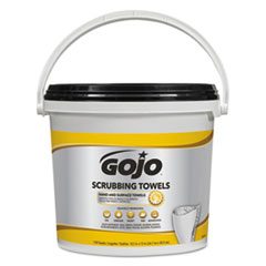 GOJO® Scrubbing Towels, Hand Cleaning, White/Yellow, 170/Bucket, 2 Buckets/Carton