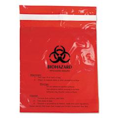 "Stick-On Biohazard Waste Bags, 1.4 qt, 2 mil, 9"" x 10"", Red, 100/Box"