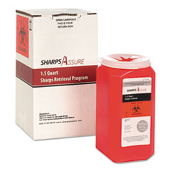 TrustMedical Sharps Retrieval Program Containers, 1.5 qt, Plastic, Red