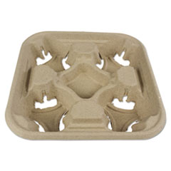 Boardwalk® Molded Fiber Cup Tray, 8-32 oz, Four Cups, 300/Carton