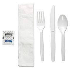 Boardwalk® Six-Piece Cutlery Kit, Condiment/Fork/Knife/Napkin/Teaspoon, White, 250/Carton