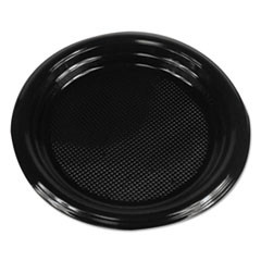 "Boardwalk® Hi-Impact Plastic Dinnerware, Plate, 6"" Diameter, Black, 1000/Carton"