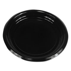 "Boardwalk® Hi-Impact Plastic Dinnerware, Plate, 9"" Diameter, Black, 500/Carton"