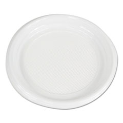 "Boardwalk® Hi-Impact Plastic Dinnerware, Plate, 9"" Diameter, White, 500/Carton"