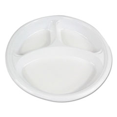 "Boardwalk® Hi-Impact Plastic Dinnerware, Plate, 10"" Dia., 3 Compartments, White, 500/Carton"