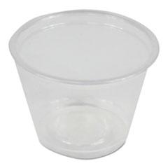 Boardwalk® Soufflé/Portion Cups, 1 oz, Polypropylene, Clear, 20 Cups/Sleeve, 125 Sleeves/Carton