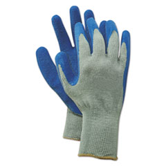 Boardwalk® Rubber Palm Gloves, Gray/Blue, Large, 1 Dozen