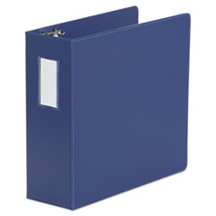"Universal® Deluxe Non-View D-Ring Binder with Label Holder, 3 Rings, 4"" Capacity, 11 x 8.5, Royal Blue"