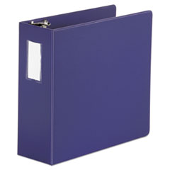 "Universal® Deluxe Non-View D-Ring Binder with Label Holder, 3 Rings, 4"" Capacity, 11 x 8.5, Navy Blue"
