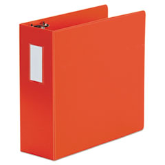 "Universal® Deluxe Non-View D-Ring Binder with Label Holder, 3 Rings, 4"" Capacity, 11 x 8.5, Red"