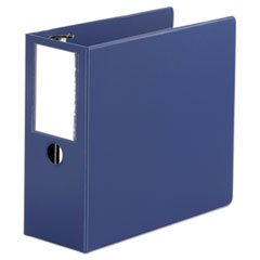"Universal® Deluxe Non-View D-Ring Binder with Label Holder, 3 Rings, 5"" Capacity, 11 x 8.5, Royal Blue"