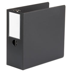 "Universal® Deluxe Non-View D-Ring Binder with Label Holder, 3 Rings, 5"" Capacity, 11 x 8.5, Black"