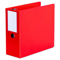 "Universal® Deluxe Non-View D-Ring Binder with Label Holder, 3 Rings, 5"" Capacity, 11 x 8.5, Red"