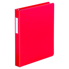 "Universal® Deluxe Non-View D-Ring Binder with Label Holder, 3 Rings, 1"" Capacity, 11 x 8.5, Red"